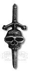 Hand-Cast Pewter Sword and Skull Kilt Pin