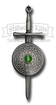 Deluxe Irish Sword and Shield Kilt Pin with Green Cat's-Eye Stone
