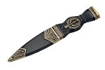 Sgian Dubh Sock Knife - Antique Brass Thistle design