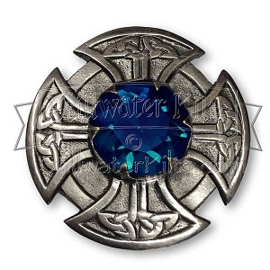 Celtic Cross Plaid Brooch with Glass Stone