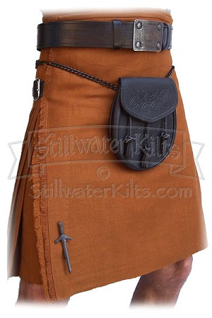 "Wool Heavyweight Kilt: Irish Saffron ""Shadow Tartan"""