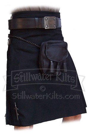 "Wool Heavyweight Kilt: Solid Black ""Shadow Tartan"""