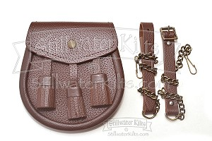 Premium 3-Tassel Brown Leather Sporran with Chain Belt