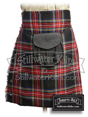 Youth Black Stewart Tartan Thrifty Kilt